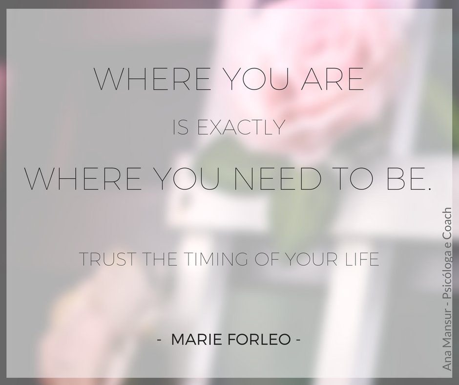 Where you are is exactly where you need to be. Trust the timing of your life - Marie Forleo